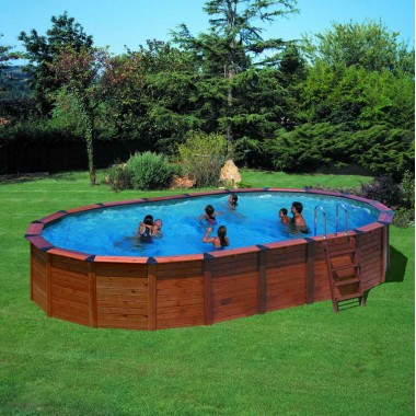 Piscine ovale en bois pas cher en kit france for Piscine semi enterree pas cher
