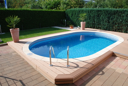 Piscine semi enterr e imitation bois for Prix piscine enterree